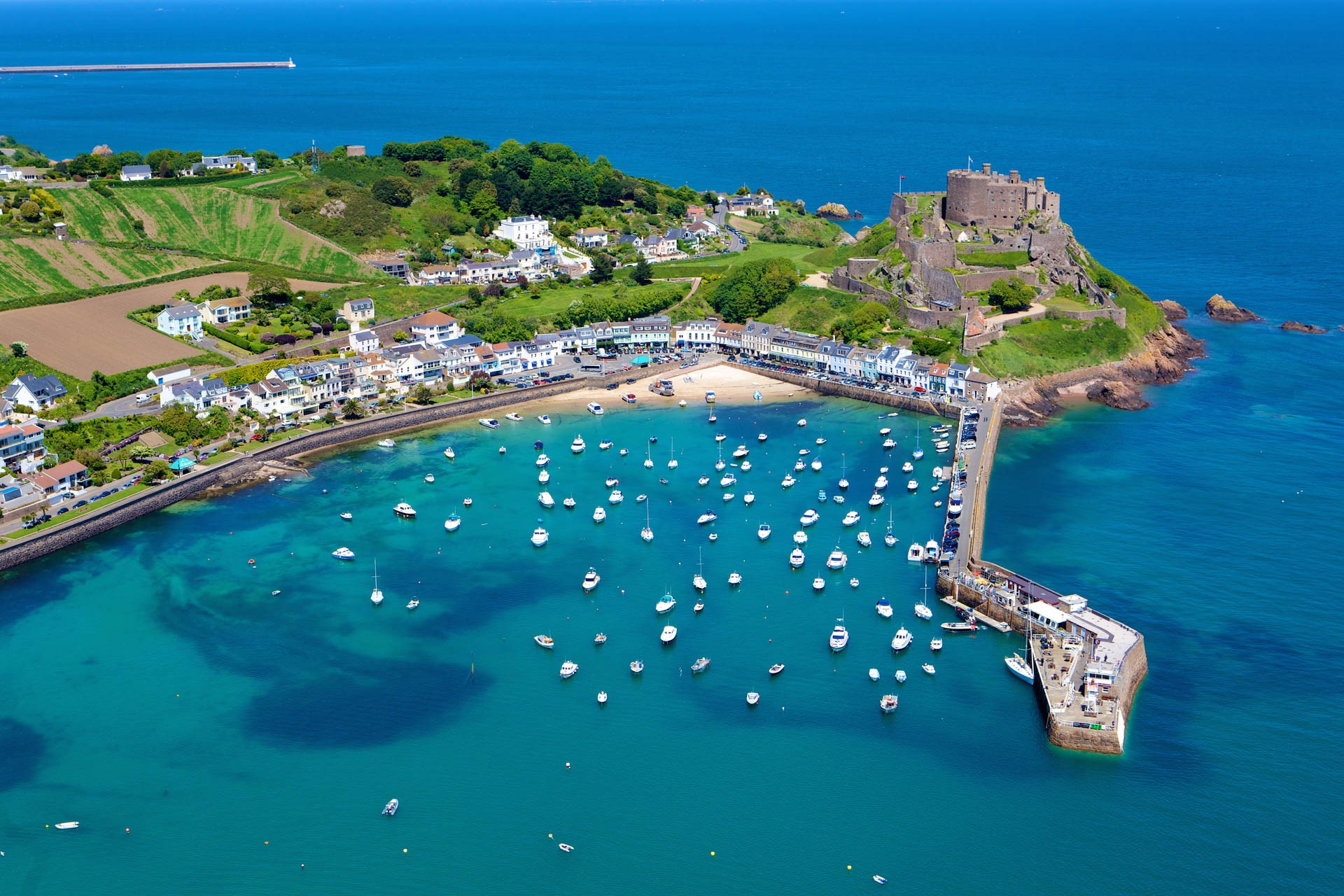 Aerial View of Gorey Harbour in Summer