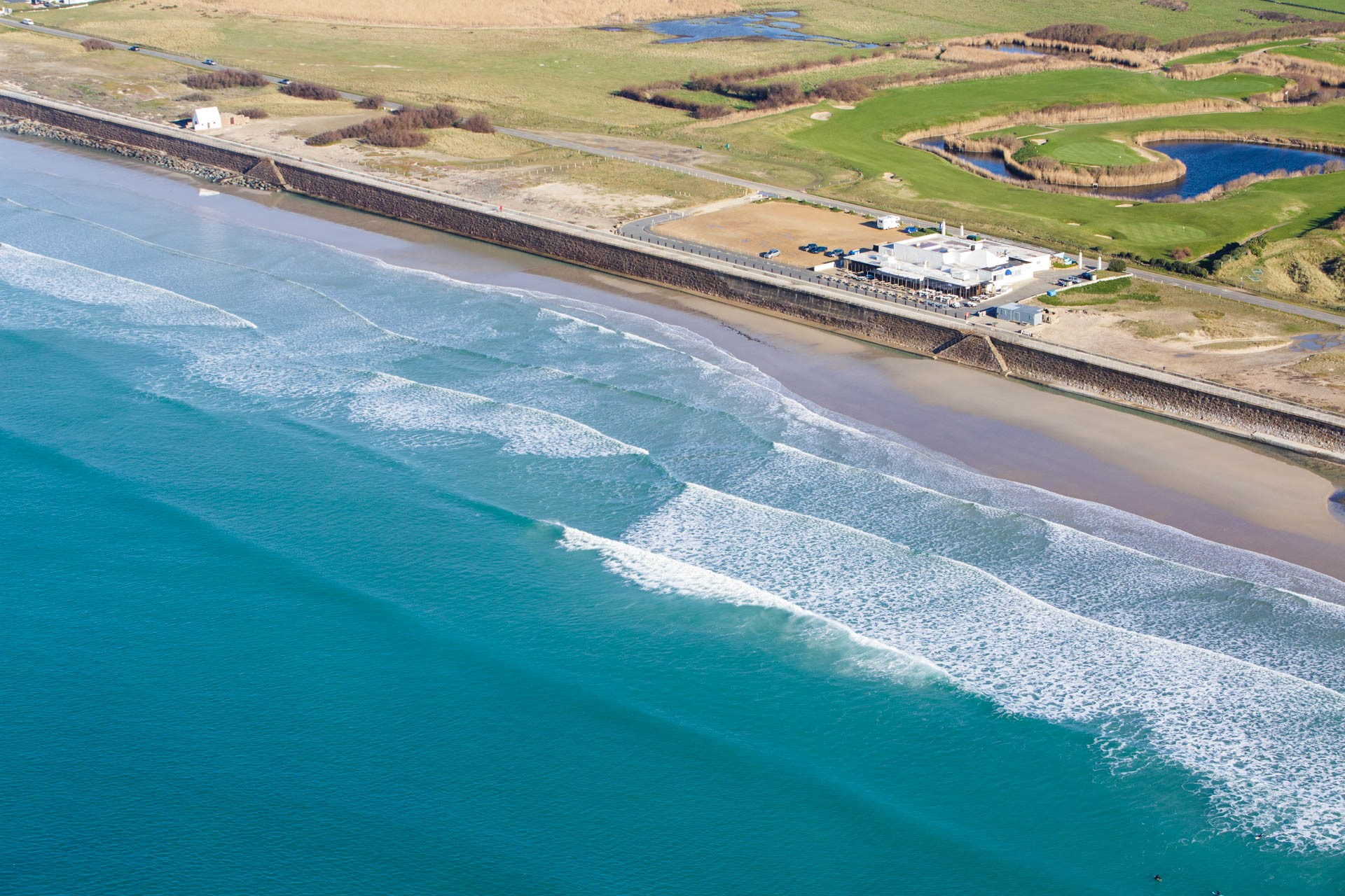 Aerial View of the Water Splash and surf at St Ouen's Bay