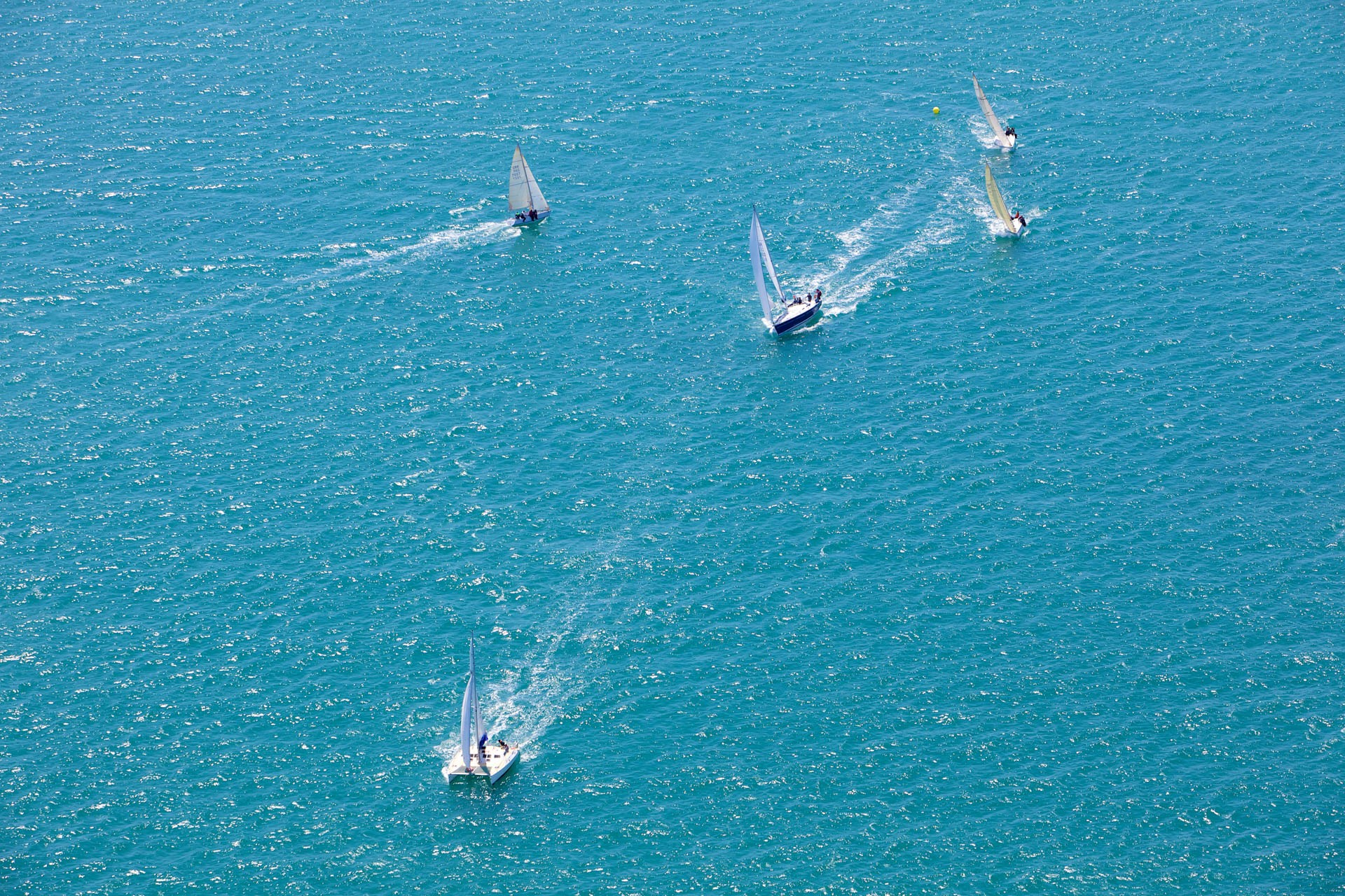 Aerial View of Yachts Racing in the Channel Islands