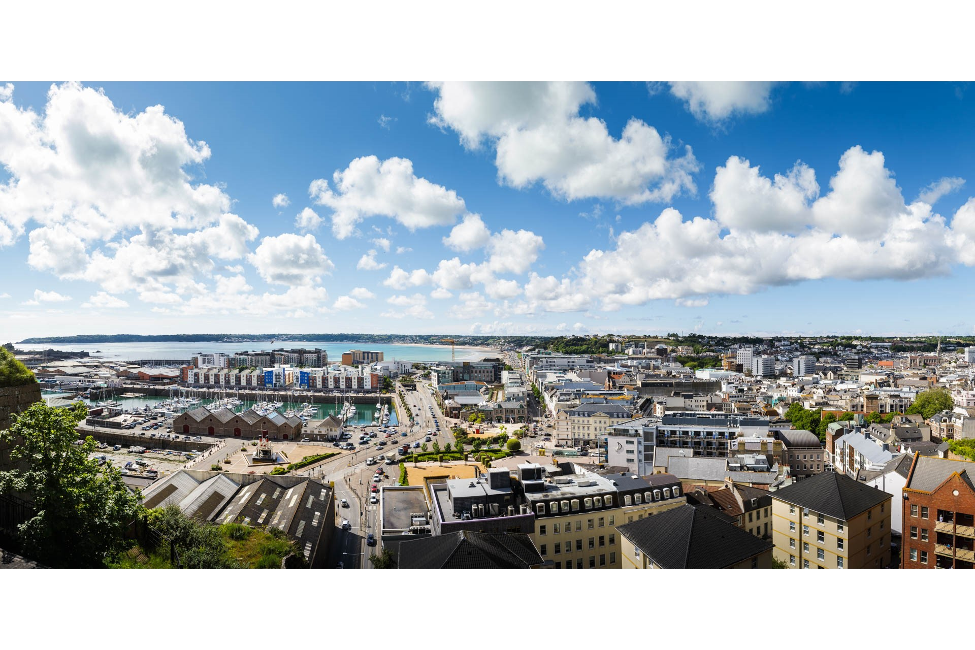 Panoramic Aerial View of St Helier town and harbour