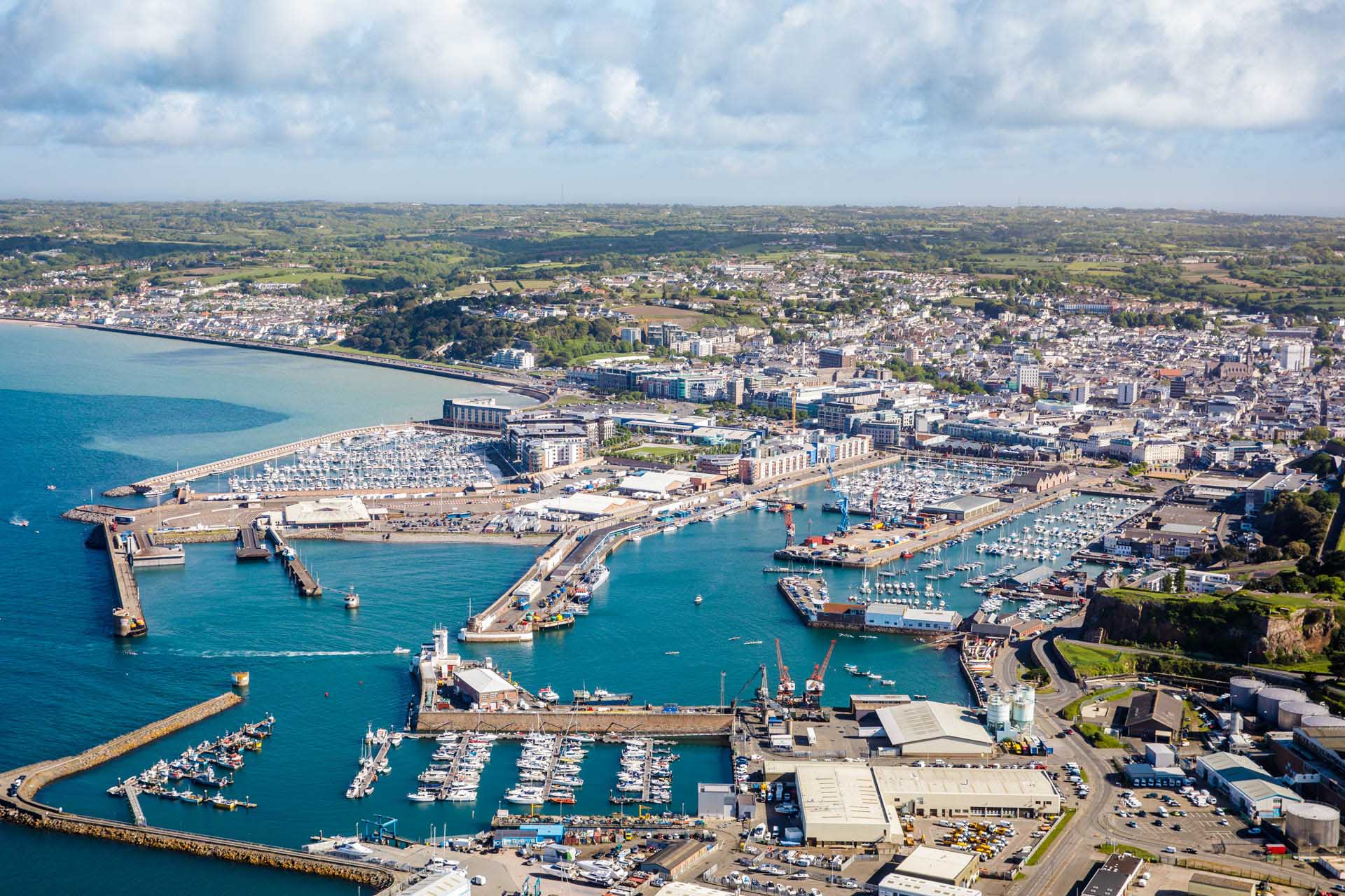 Aerial View of St Helier Harbour prints - Andy Le Gresley
