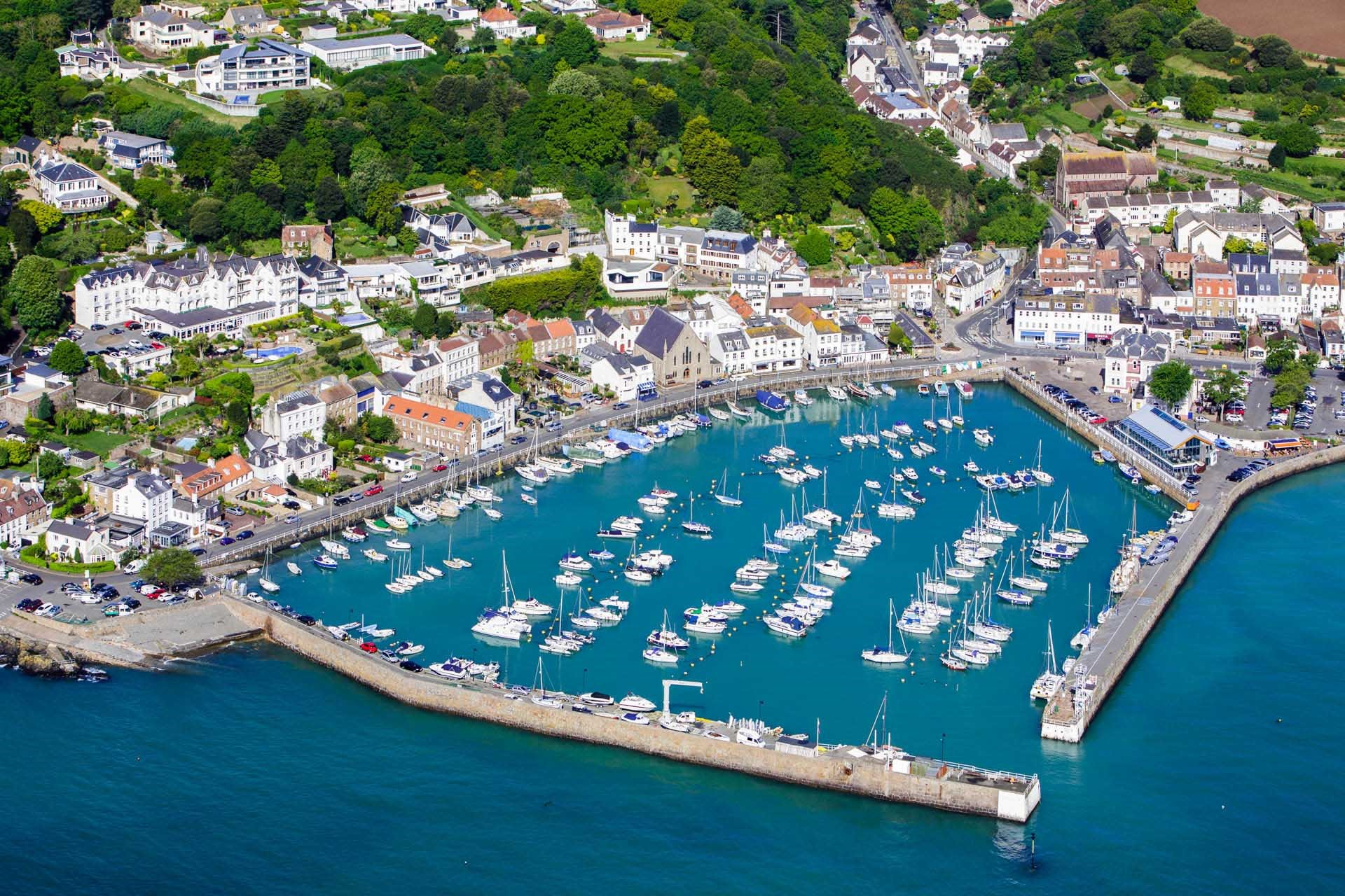 Aerial View of St Aubin's Harbour